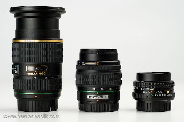 16-50 DA*, 18-55 DA & 50 mm f/1.7 all @ 50mm