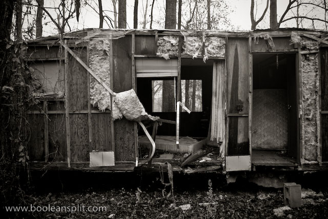 rotting trailer in B&W